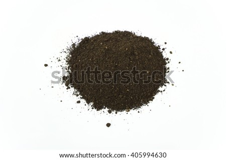 High Angle Close Up Detail of a Pile of Worm Humus Soil Isolated on White Background - stock photo