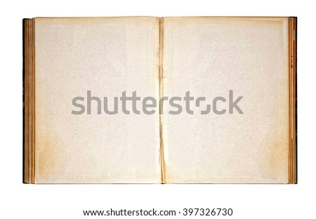 High Angle Close Up of Old Vintage Antique Book Open to Reveal Worn Blank Pages with Copy Space for Message, Resting on White Background