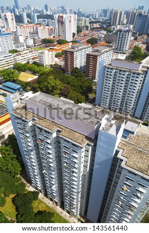 High angle dynamic view of an old crowded residential district in Singapore. - stock photo