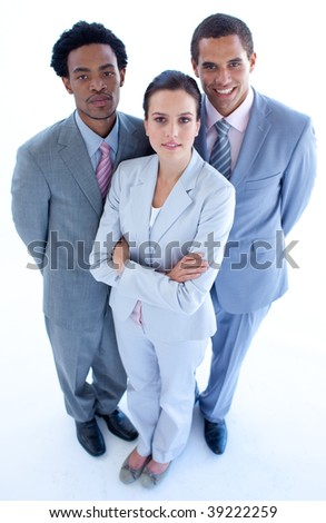 High angle of confident business team looking at the camera