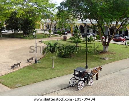 high angle street scenery of Izamal in Yucatan, Mexico - stock photo