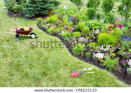 High angle view from a distance of a wheelbarrow standing on a green lawn alongside a manicured flowerbed while planting a beautfiul colorful celosia garden with ornamental plants - stock photo