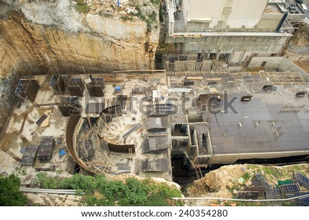 High angle view of a Construction Site , Infrastructure in a Construction Site - stock photo