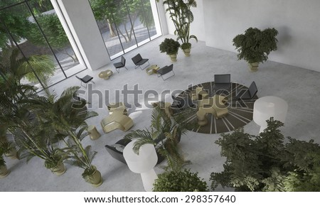 High angle view of a double volume modern minimalist designer living-dining room with indoor potted plants and contemporary furniture. 3d Rendering. - stock photo