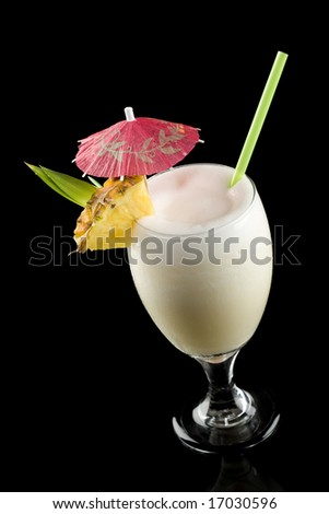 High angle view of a pina colada isolated on a black background