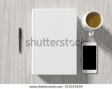 High angle view of a setting table of business workplace, shot in office, home work space - stock photo