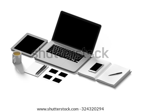 High angle view of a setting table of business workplace, shot in office, home work space