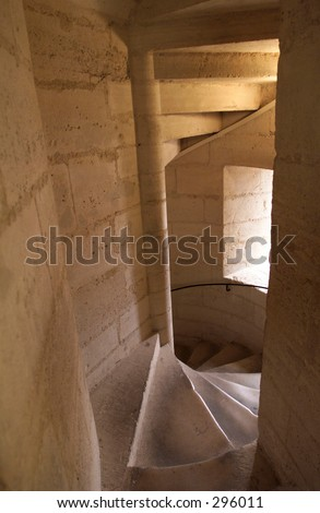 High angle view of a spiral stone staircase, Paris, France,