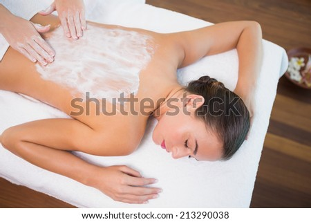 High angle view of an attractive young woman receiving back mask cream at spa center - stock photo