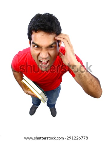 High angle view of  an Indian student going crazy. Isolated on white.