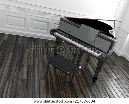 High angle view of an open grand piano with a stool in a classic paneled room with a wooden parquet floor - stock photo
