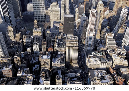 High angle view of buildings in Manhattan in New York City - stock photo