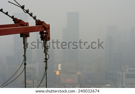 High Angle View of Construction Site in city - stock photo