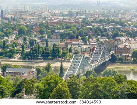 high angle view of Dresden, a city in Saxony (Germany)
