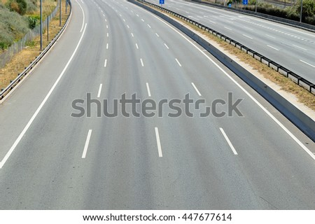 high angle view of empty highway of any vehicles