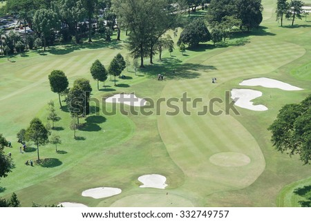 High angle view of golf resort
