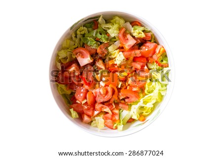 High Angle View of Gourmet Fresh Healthy Tomato and Cabbage Salad on a Bowl, Isolated on White Background.
