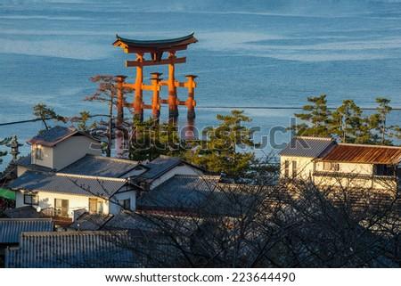 High Angle View of Great floating gate (O-Torii) on Miyajima island, Japan - stock photo