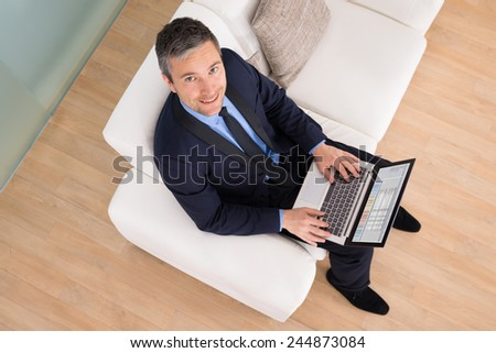 High Angle View Of Happy Businessman Sitting On Couch Using Laptop - stock photo