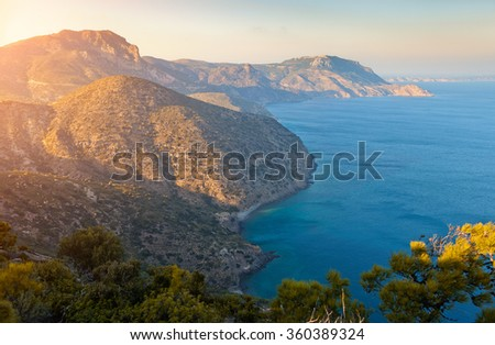 High angle view of Kos Island,Greece at sunset - stock photo
