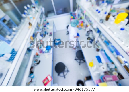High angle view of Laboratory interior out of focus