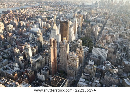 High angle view of Manhattan in New York City.   - stock photo