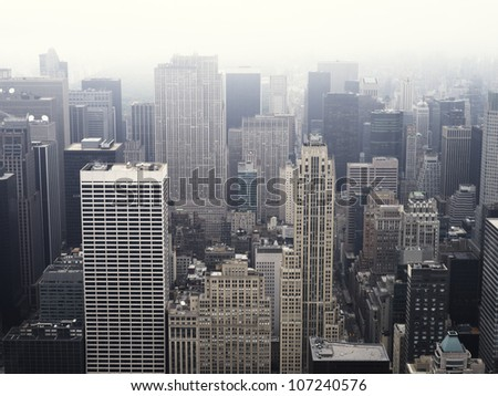 High angle view of Manhattan skyline