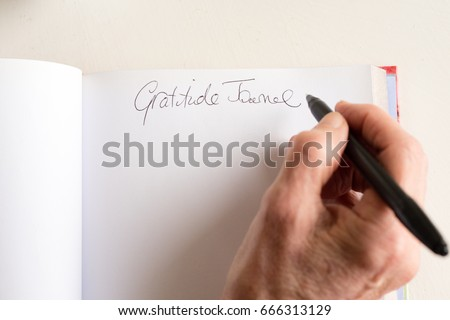 High angle view of older woman's hand holding black pen and writing in gratitude journal (selective focus)