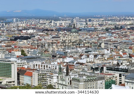 High angle view of Pest with St. Stephen's Basilica in Budapest, Hungary. View from Gellert Hill.
