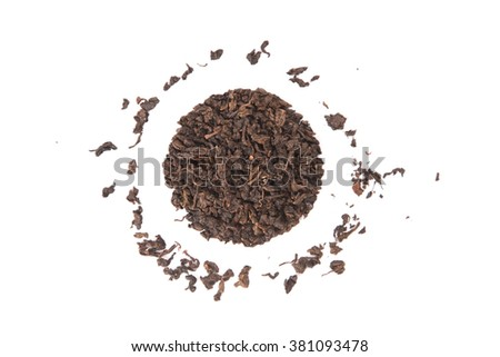 High angle view of roasted Tieguanyin, variety of Oolong tea, isolated on white background