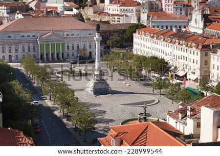 High angle view of Rossio Square in Lisbon; Portugal; Europe - stock photo