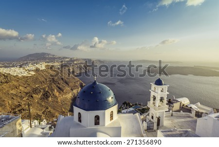 High angle view of Santorini blue dome churches, Greece