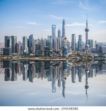 high angle view of shanghai skyline with reflection ,China  - stock photo