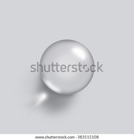 High angle view of sphere on grey background. - stock photo