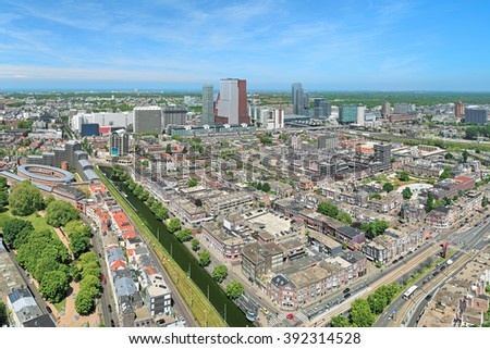 High angle view of The Hague downtown with skyscrapers, Netherlands  - stock photo