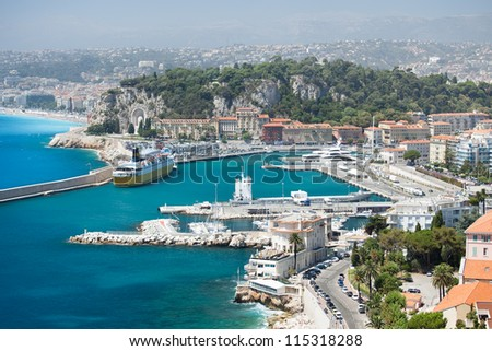 High angle view of the Mediterranean city of Nice in French Riviera. - stock photo