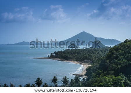 high angle view of white beach is the most beautiful beach on Koh, Thailand - stock photo