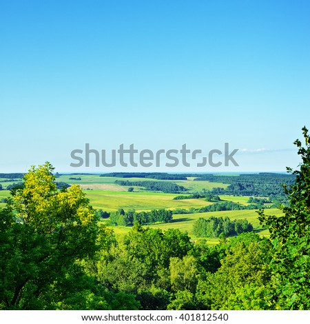 High Angle View Rural Landscape - stock photo