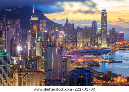 High Angle Viewpoint In Hong Kong Cityscape As Sunset