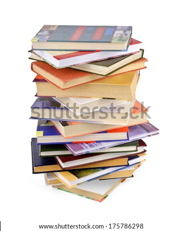 High books stack isolated on white background.