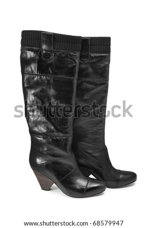 High boots isolated on white background