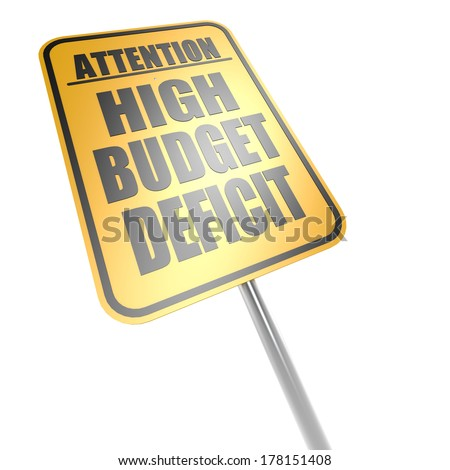 High budget deficit road sign - stock photo