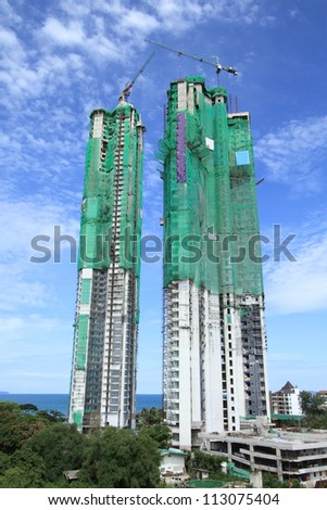 High building construction - stock photo