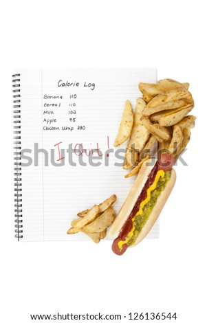 High calorie hotdog sandwich and fries on top of a notebook with calorie log - stock photo