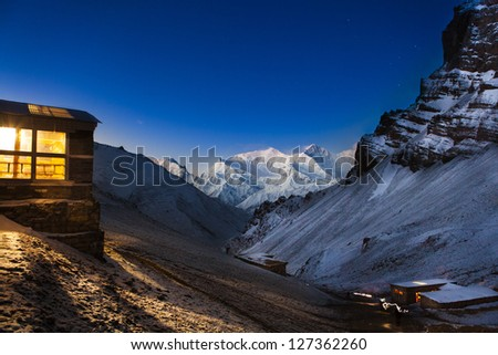 High camp in mountains, Thorung La, Annapurna, Nepal - stock photo