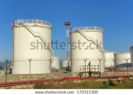 High capacity fuel tanks used for storage - stock photo