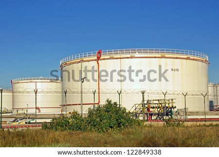 High capacity tanks used for fuel storage - stock photo