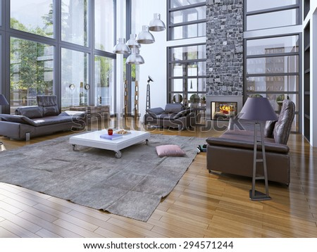 High ceiling living room with fireplare. Modern interior with panoramic windows and lether furniture. Stone chimney fits perfectly into the interior of the room. 3D render - stock photo