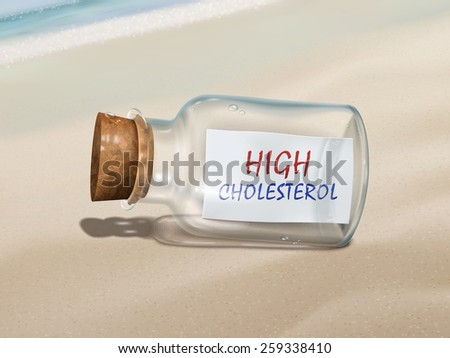 high cholesterol in a bottle isolated on beautiful beach - stock photo
