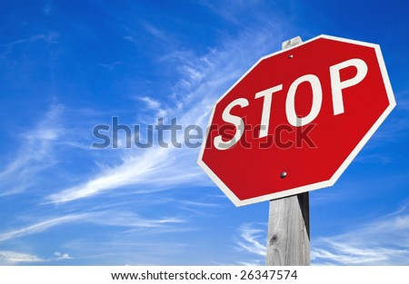 High clouds in the sky and roadsign